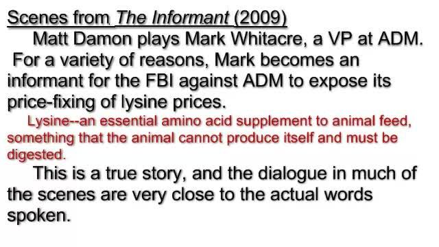 Game Theory and Collusion in Movie, The Informant