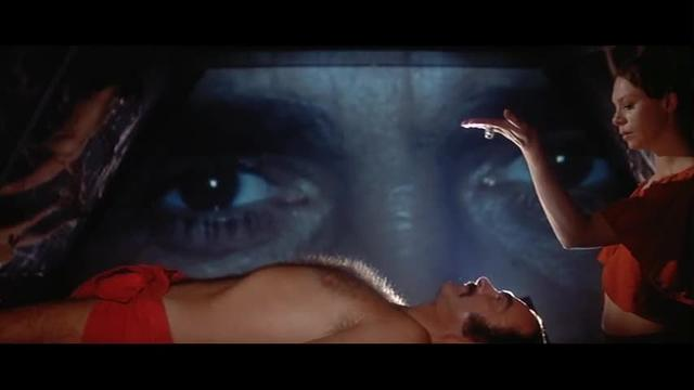 Sean Connery's retinal scan is interrupted by a criminal trial in Zardoz