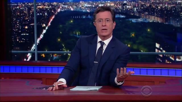 Samsung Gear VR head mounted display on Stephen Colbert
