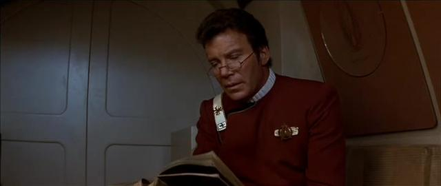 Wrath of Khan - Kirk reads book on shuttlecraft