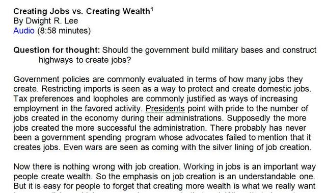 Creating Jobs vs. Creating Wealth