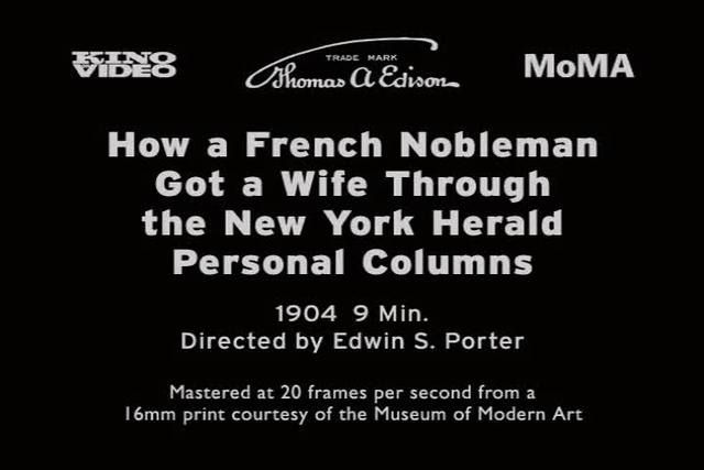 How a French Nobleman Got a Wife Through the New York Herald Personal Columns (1904)