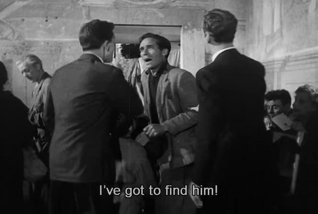 Bicycle Thieves:  Bruno's spatial relation to his father after he is hit