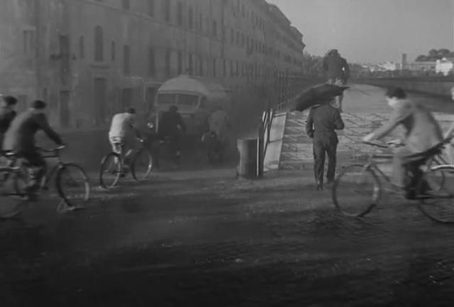 Bicycle Theives:  Bruno's spatial relation to his father as an emotional barometer in the downpour scene
