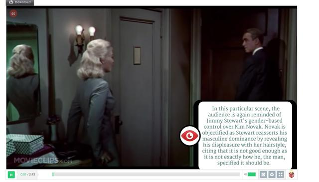 A scene from VERTIGO, annotated with Mozilla's Popcorn Maker [by Jennifer Proctor]